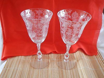 2 Vintage Cambridge Glass Rose Point Water Stem Goblets Glasses 8 3/8""