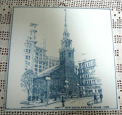 Delft Holland Hand Painted Tile Boston Old South Meeting House 1729 Vintage