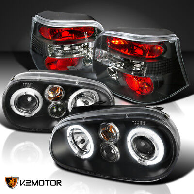 For 99-06 VW Golf MK4 Halo Projector Black Headlights+Tail Lights Brake Lamps