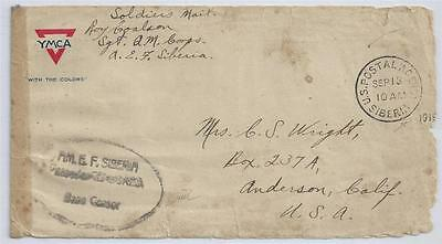American Exped. Forces BASE CENSOR Cover 1919 RUSSIA Civil war SIBERIA USA