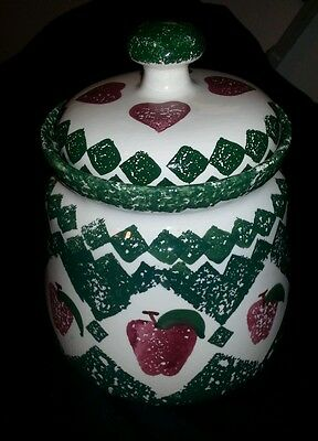 Hand Painted Green & White Cookie Jar with Red Apples, & Red Hearts on The Lid