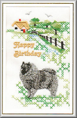 Keeshond  Birthday Card Embroidered by Dogmania  - FREE PERSONALISATION