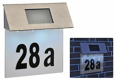 Stainless Steel Solar Powered House Door Number 4x LED Outdoor Wall Plaque Light