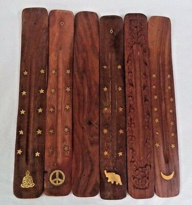 "10"" Wooden Wood Incense Burner Holder Ash Catcher for Sticks: CHOOSE DESIGN"