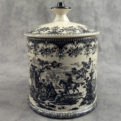 BLACK & CREAM TRANSFERWARE FRENCH COUNTRYSIDE TOILE BISCUIT JAR CANISTER