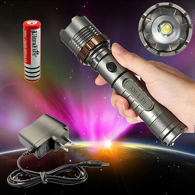 Tactical 2000LM CREE XML T6 LED Flashlight Torch Zoomable+18650 Battery+Charger