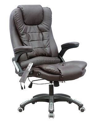 FoxHunter 8025 Leather 6 Point Massage Office Computer Chair Reclining Brown