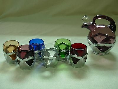 Art Deco Farber Bros Cambridge Glass Cordial Liqueur Decanter & Shot Glass Set