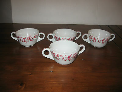Set of 4 ~ Shenango China Two Handled Bouillon (Broth) Cups ~ New Castle, PA.