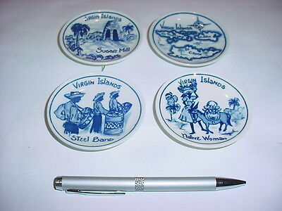 Virgin Island Ceramic Hand Painted Blue And White Wall Plates 3.25""