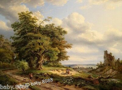 Handcrafts repro Oil Painting :Farmer with his pet dog on the way to home #6370