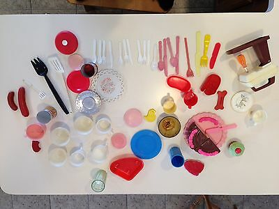 Vintage lot of children's  play dishes & food 1930's-1980's
