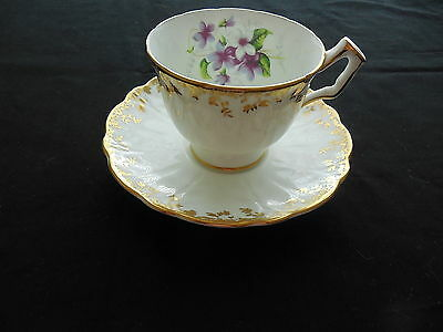 Vintage Aynsley Bone China Cup & Saucer White & Gold With Purple Violets