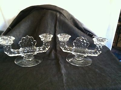 PAIR OF FOSTORIA AMERICAN CLEAR GLASS 2 LIGHT DOUBLE CANDLE STICK HOLDER