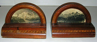 Vintage Art Deco Hardwood Mountain View Photo Bookends