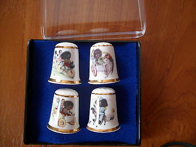SET OF 4 CARLTON WARE GOLLY THIMBLES IN PRESENTATION BOX ALL PERFECT LTD EDIT