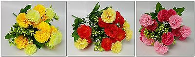 Artificial Flowers Small Bunch Mini Carnations Choice Of Colours