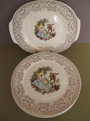 G5 American Limoges Triumph China D'Or 7 Dinner Plates & Platter