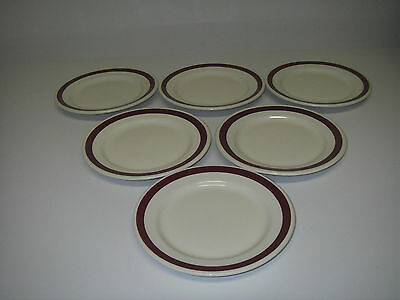 "RESTAURANT  Hotel Diner Ware Sovereign Potters 6 Plates 6½"" Maroon Stripe Band"