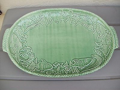 VINTAGE LARGE MAJOLICA FISH SEAFOOD PLATTER PLATE PORTUGAL Green Pottery