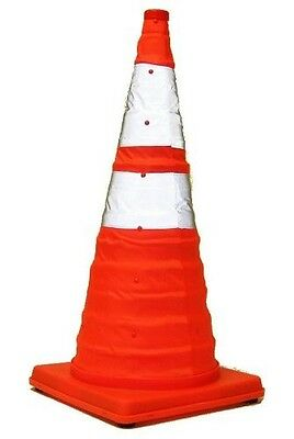 28 Inch Lighted, Collapsible Traffic Safety Cone