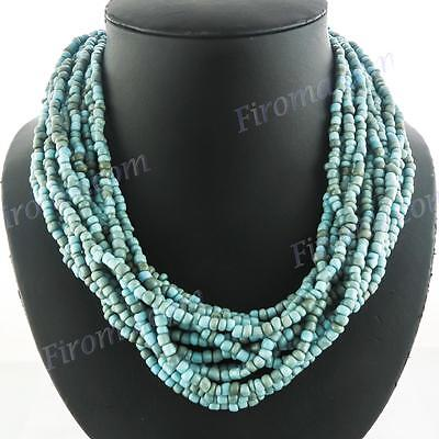 """LUSCIOUS 15 STRANDS 19"""" TURQUOISE BEADS CHOKER necklace"""