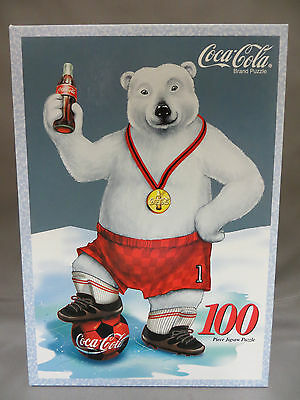 Coca Cola Soccer Bear Jigsaw Puzzle 100 Pieces New Sealed 08561 Sports Made USA