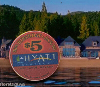 HYATT REGENCY CASINO - $5 GAMING CHIP - LAKE TAHOE NV - 1995 20TH BIRTHDAY CHIP
