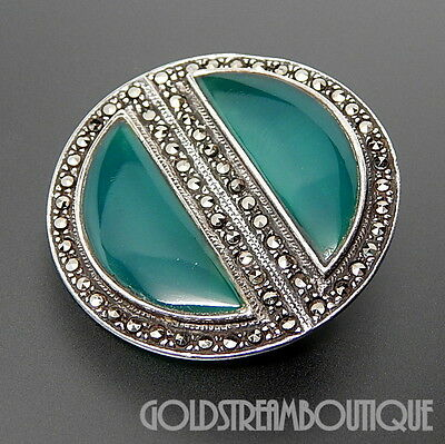 VINTAGE GREEN ONYX & MARCASITE ACCENTS STERLING SILVER ROUND ART DECO BROOCH PIN