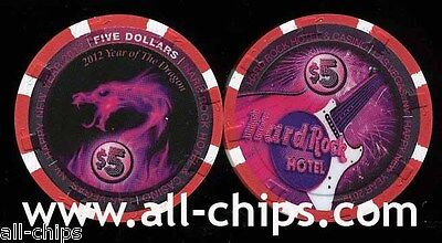 $5 Hard Rock New Year 2012 Chinese N.Y. Year of the Dragon Las Vegas Casino Chip