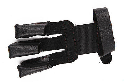 Handmade Shooting Black Cow Leather Archery Finger Gloves  Recurve Longbow