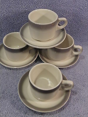 Buffalo China Restaurant Gray Rim Lot of 4 Cups and Saucers