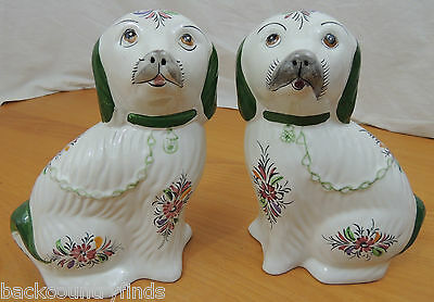 Pair of Hand Painted Reel Portuguese Pottery Pekingese Dogs White Green Floral