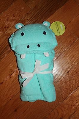 NWT Gymboree Hippos and Blues Blue Terry Hooded Hippo Bath Towel