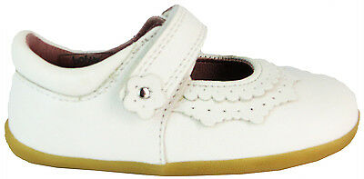 Bobux 723201 Dollhouse Mary Jane Baby Girls White Velcro Leather First Shoes New