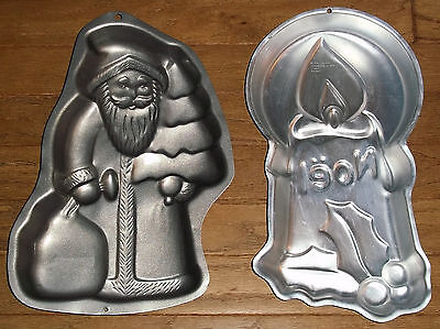 Lot of 2 WILTON CHRISTMAS CAKE PANS Old World Santa Claus, Noel Candle 1981 1999