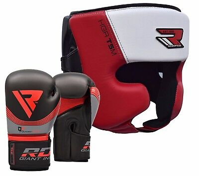 RDX Boxing Gloves & Head Guard Set Punching MMA Martial Art Training Protector R