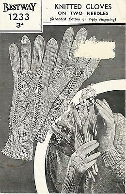 Vintage  Knitting Pattern Pretty Lacy Gloves