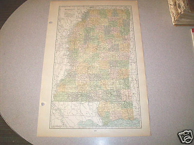 MISSISSIPPI authentic 1919 Vintage Map large 13x20 genuine 96 years old