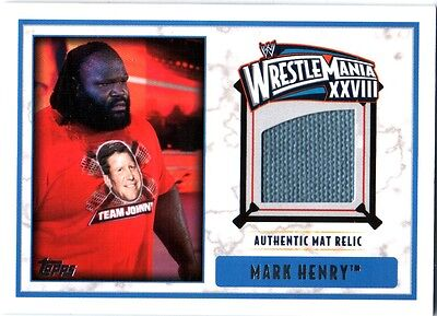 WWE Mark Henry 2012 Topps WrestleMania 28 Authentic EventUsed Mat Relic Card DWC