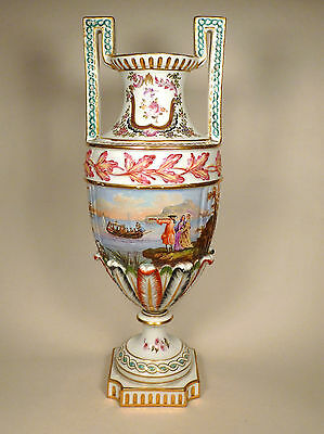 Antique Sevres Samson 19th Century Hand Painted Vase with Harbour Scene