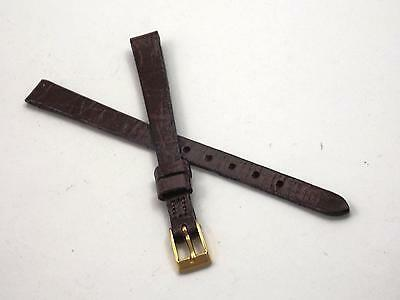 Accutron Brown Lizard 8mm Watch Band Ladies Vintage Gold Tone Buckle NOS
