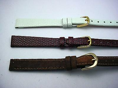 3 Band Lot of Vintage Com-Fit 11mm Leather Ladies Watch Bands White Burgandy Tan