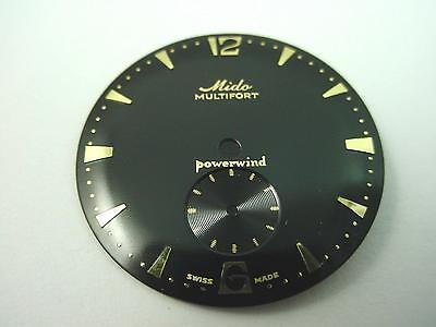 Black Mido Multifort Powerwind 27.91mm Vintage Watch Dial Subdial Arrow Markers