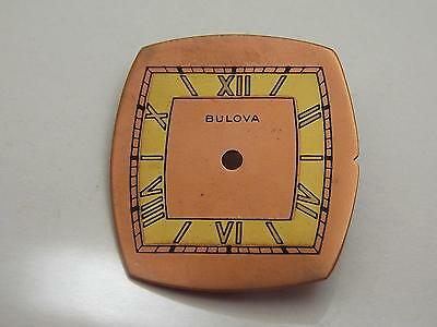 Vintage Copper and Gold Watch Dial Bulova 22.75mm by 20.55mm Roman Numeral Mrkrs