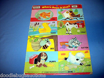 Vintage Children 1972 Saalfield MATCH & LEARN Where Does It Live Push-Out Puzzle