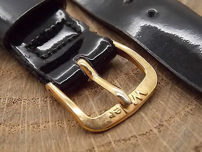 "Wyler Vintage Watch Band Mens 17.5mm 11/16"" Black Leather Gold Tone Buckle NOS"