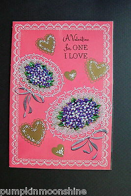 #D300- Vintage Unused Valentine's Day Greeting Card Purple Lilac Bouquets