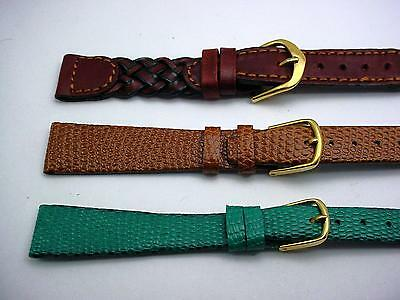 "3 Band Lot of 16mm 5/8"" Leather Ladies Vintage Watch Bands Com-Fit Gilden Hadley"