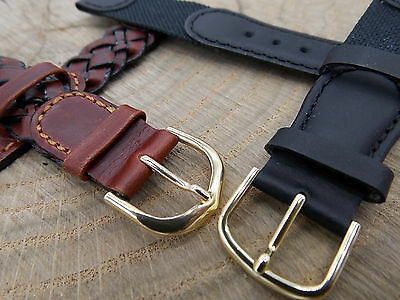 Lot of 2 Hirsch Mens Vintage Watch Band Brown & Black Leather 18mm Austria NOS